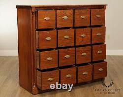 Antique 16 Drawer Large Oak General Store or Haberdashery Cabinet