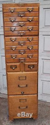 Antique 16 Drawer Stacking Oak File Cabinet Shaw Walker  Mission
