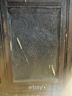Antique 1800s Primitive Cupboard Cabinet Pie Safe Punch Tin Farmhouse Kitchen