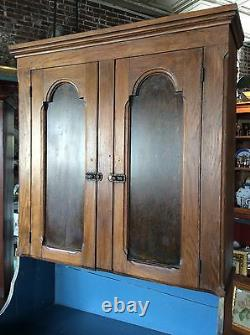 Antique 1860s Solid Chestnut Grain Painted Panel Dry Sink Cupboard