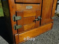 Antique 1910 Oak Ice Box Polar King Refrigerator Grand Rapids MI Porcelain 48 T