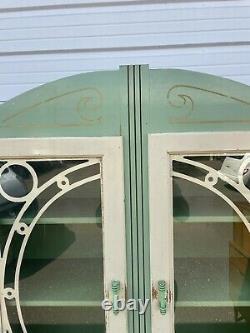 Antique 1920s Hoosier Kitchen Cabinet Porcelain Top With Glass Doors Green