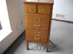 Antique 1930's Tiger Oak Legal/letter Size File Cabinet With Original Brass