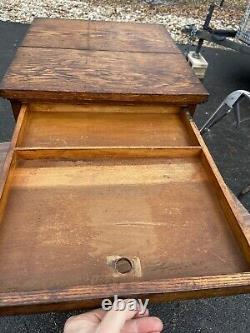 Antique 1940s Apothecary Cabinet 8 Drawer Oak Cubby vintage storage
