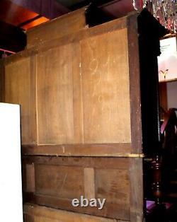 Antique 19th C. English Oak Court Cupboard Buffet Sideboard Hutch China Cabinet