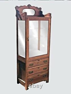 Antique 19th C Victorian Tiger Oak Medical / Physicians Cabinet China Cabinet