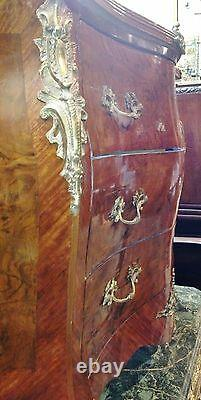 Antique 19th Wooden Commode Rococo Style Louis XV Furniture Bronze Marble Top C