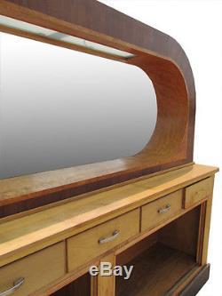 Antique 22' Art Deco Mahogany/Birds Eye Maple Finish Front & Back Bar