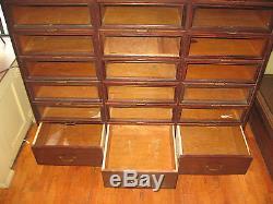 Antique 27 Glass Front Drawer Store Haberdashery Cabinet Dresser File Crafts