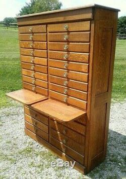 Antique 28 Drawer Hardware Store Wall Cabinet Tiger Oak 1910 Era