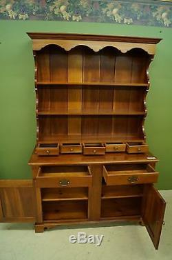 Antique 2pc Cherry Open Hutch Amish Stepback Pewter Curio Display Cabinet Solid