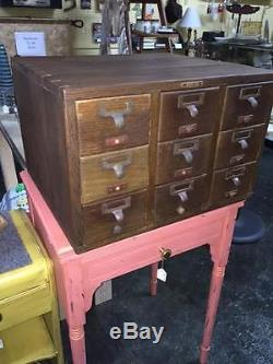 Antique 9 Drawer Tiger Oak Dovetailed Case Table Top Library Card Catalog