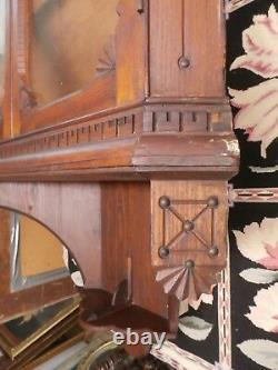 Antique American Oak Hanging Corner Cabinet Slanted Display Shelves Glass Doors