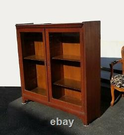 Antique American Oak Wood Display Cabinet Bookcase with Glass Doors