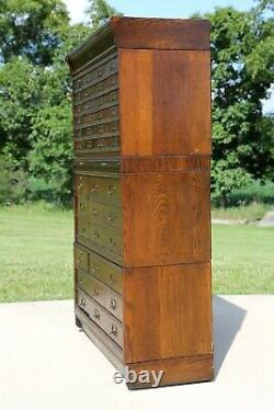 Antique Apothecary Cabinet 42 Drawer Oak Barrister File Card Catalog Jewelry Etc