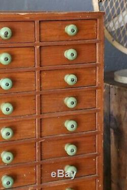 Antique Apothecary Cabinet 44 Drawer green knobs Vintage Wood Cubby Jewelry Box
