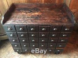 Antique Apothecary Drawer Unit, Hardware Store Parts Cabinet With Casters