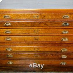 Antique Architects Flat File Cabinet Map Case