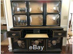 Antique Art Deco Chinoiserie China Cabinet Breakfront Secretary/desk