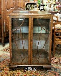 Antique Art Deco Glass Door Oak Wood Bookcase / 2 Shelf Display Cabinet