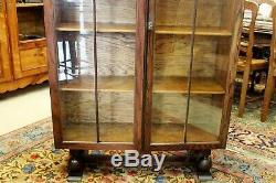 Antique Art Deco Glass Door Oak Wood Bookcase / 3 Shelf Display Cabinet