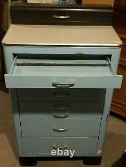 Antique Art Deco Metal Medical Dental Dentist Doctor's Cabinet Storage REDUCED