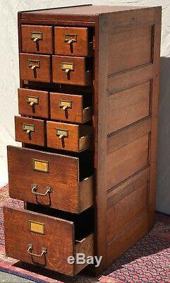 Antique Arts & Crafts / Mission Oak Office File Cabinet Rare 8 Over 2 Drawer
