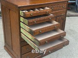 Antique Arts & Crafts Quartersawn Oak Library File Dental Cabinet