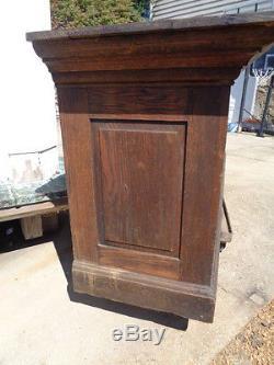 Antique Bernard Gloekler Pittsburg PA Oak Raised Paneled General Store Counter