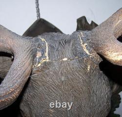 Antique Black Forest Carved Life Size Elk Head with Original Elk Antlers