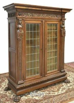 Antique Bookcase, Cabinet Italian Renaissance Revival Fitted, Early 1900s