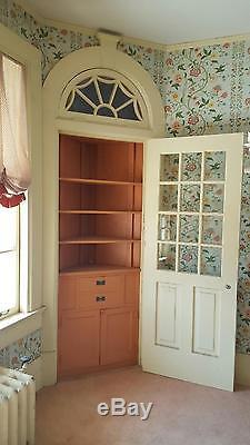 Antique Built In Corner China Cabinet with Door Bookshelf Curio c1915