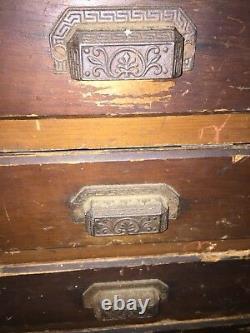 Antique Ca 1870 Map Chest Counter Surveyor's Cabinet Eastlake Pulls 84W x 30H