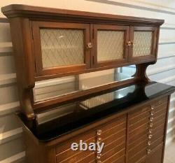 Antique Ca. Late 1910s Wooden Dental Cabinet w Frosted Glass Doors & Marble Base