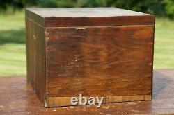 Antique Card Catalog File Cabinet 7 Drawer Brass Pulls Wood Organizer Box