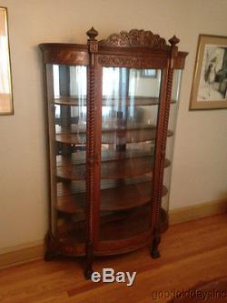 Antique Carved Quarter Sawn Oak Curved Glass China Cabinet