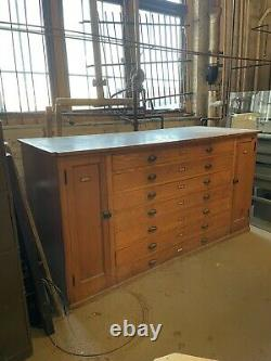 Antique Catholic Church Sacristy Cabinet Ex Built In 7 Drawers 2 Door Cabinets