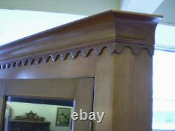 Antique Cherry Corner Cabinet with Glass Doors and Key Locks Circa 1880's