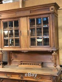 Antique Cherry HickoryCupboard China Cabinet Stepback Cupboard Beveled Glass