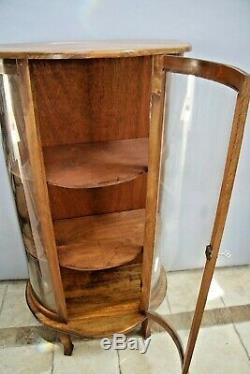 Antique China cabinet Curved Wavy Glass solid maple locking cedar shelves petite