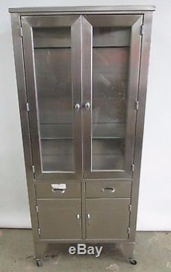 Superior Antique Circa 1940u0027s Stainless Steel Medical Display Cabinet Industrial  Chest