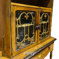 Antique Country Farmhouse Carved Maple Curio Bookcase Cabinet with Floral Motif