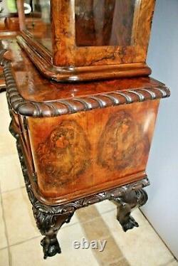 Antique Curio Walnut Burl Chippendale China Hutch Cabinet Buffet 1840's