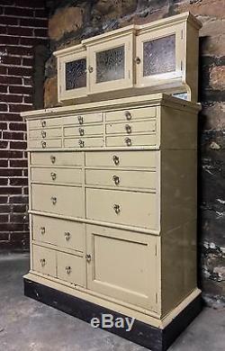 Antique Dental Cabinet Medical Storage Etched Doors Glass