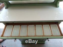 Antique Dental Cabinetold Green Paintoriginal Milk Glass Inserts & Top