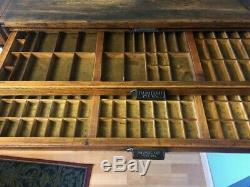Antique Early 1900's Restored 25 Drawer Printers Cabinet By Hamilton MFG. CO