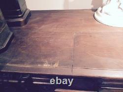 Antique Eastlake carved bar back dining room server burl walnut