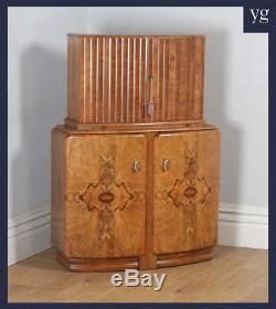 Antique English Art Deco Burr Walnut Cocktail Bar Drinks Bow Front Cabinet c1930