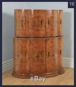 Antique English Art Deco Burr Walnut Cocktail Bar Drinks Cloud Shaped Cabinet