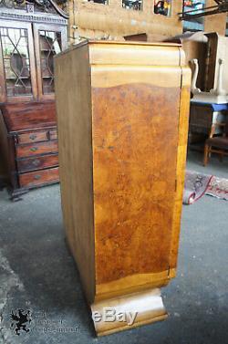 Antique English Art Deco Walnut Dry Liquor Bar Cabinet Biedermeier Waterfall